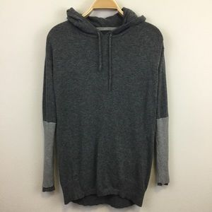 Athleta Grey Hooded Merino Wool Sweater - S